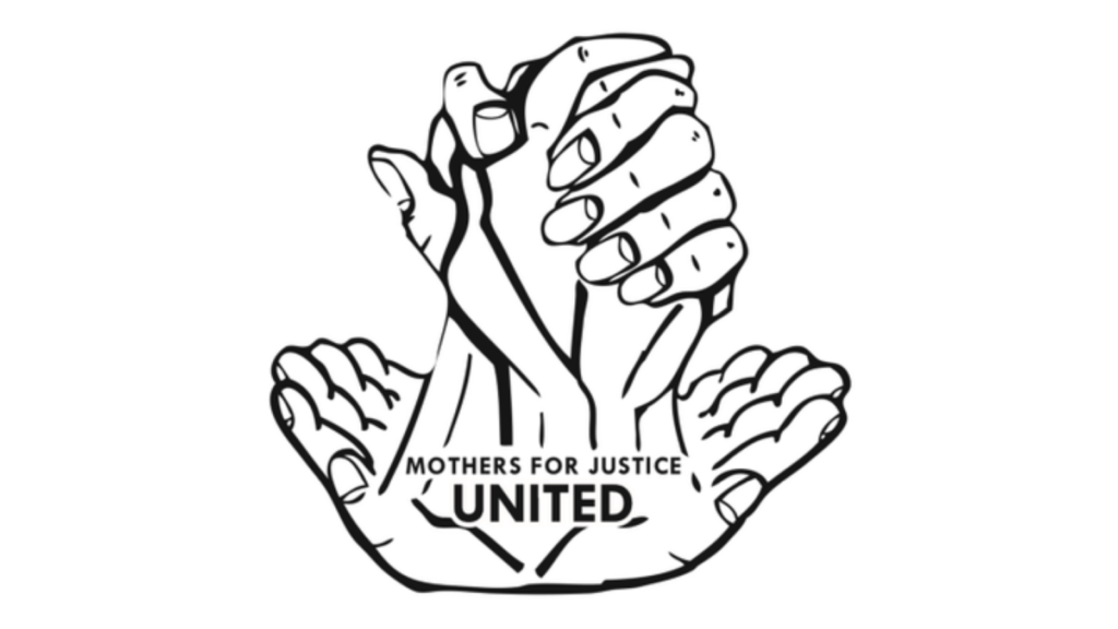 Black and white image of hands holding and supporting each other. It is the Mothers United for Justice United logo.