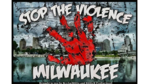 "Image of a red handprint in front of an image of Milwaukee's skyline. Text overlay says, ""Stop the Violence Milwaukee."""